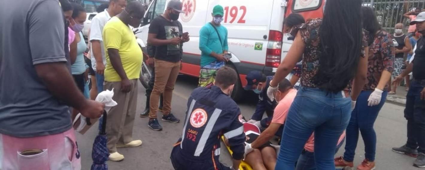 Mulher é atropelada no Centro de Simões Filho