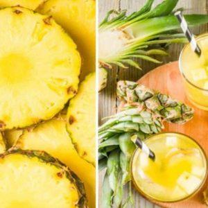 Chá de Abacaxi Exposto ao Lado da Fruta
