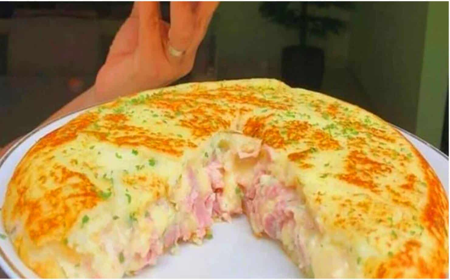 Torta de Batata Recheada Feita na Frigideira