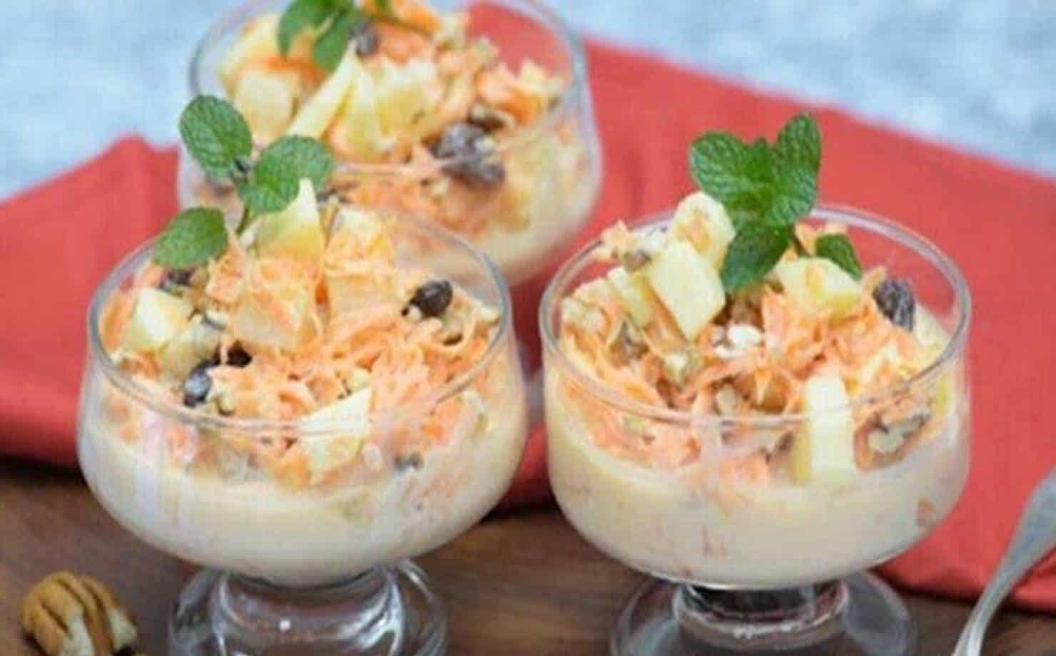 Salada de Cenoura e Frutas na Taça